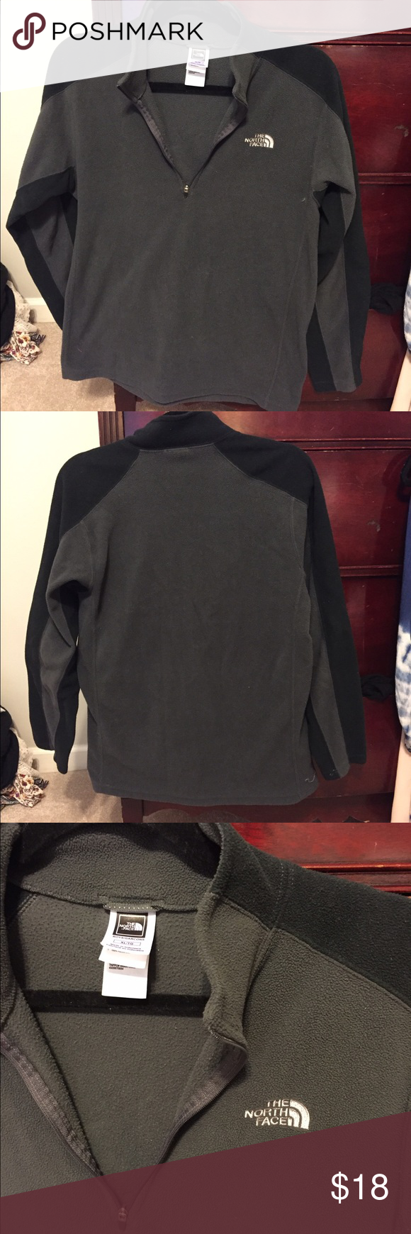 North face grey pullover This is actually a kids but can fit an adult small/xs! Gently used, good to have for colder nights  smoke/pet free home North Face Jackets & Coats