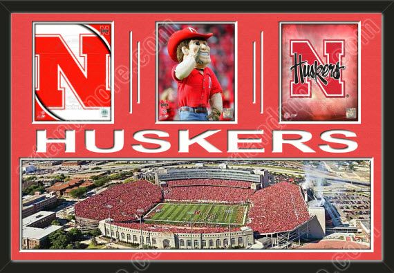 Three framed 8 x 10 inch University of Nebraska photos of University Of Nebraska Team Logo with a large University of Nebraska stadium panoramic, double matted in team colors to 36 x 24 inches.  The lines and HUSKERS* are cut into the top mat and show the bottom mat color.  The stadium view may be cropped to fit.  $199.99 @ ArtandMore.com