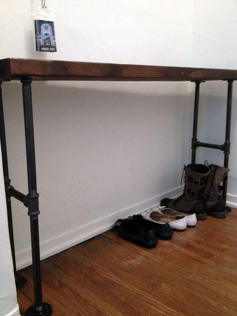 Black Entryway Table easy modern black iron pipe bench / entryway table | entryway