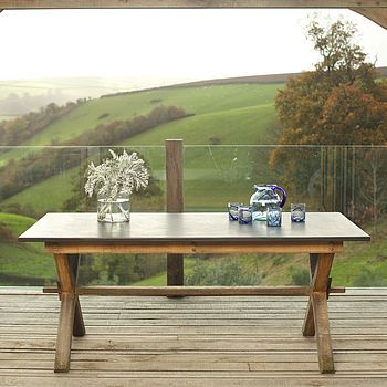 Oak Garden Slate Top Refectory Style Table Dining Room TablesGarden FurnitureMr Price HomeSlateGarden