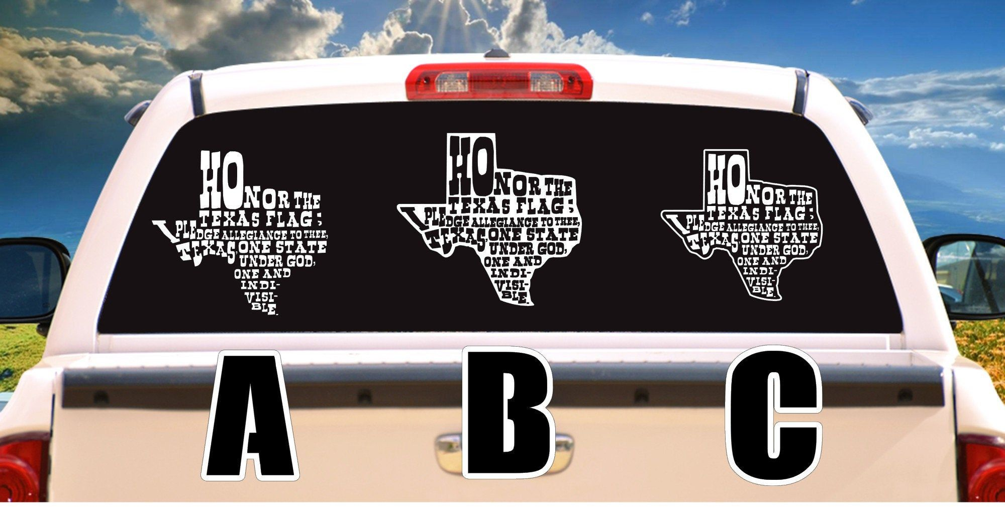 Texas Pledge in State of Texas Shape Pick style A B or C