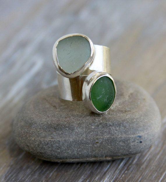 Wrap sea glass ring.  Aqua and green.