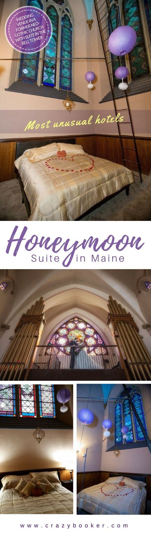 Unique Honeymoon Suite in a bell tower | This wedding venue in a former neogothic church in Maine is one of America's most spectacular wedding locations | Highlight is an uncredible wedding suite with private jacuzzi in the churchtower #usa #honeymoon #wedding #hotel