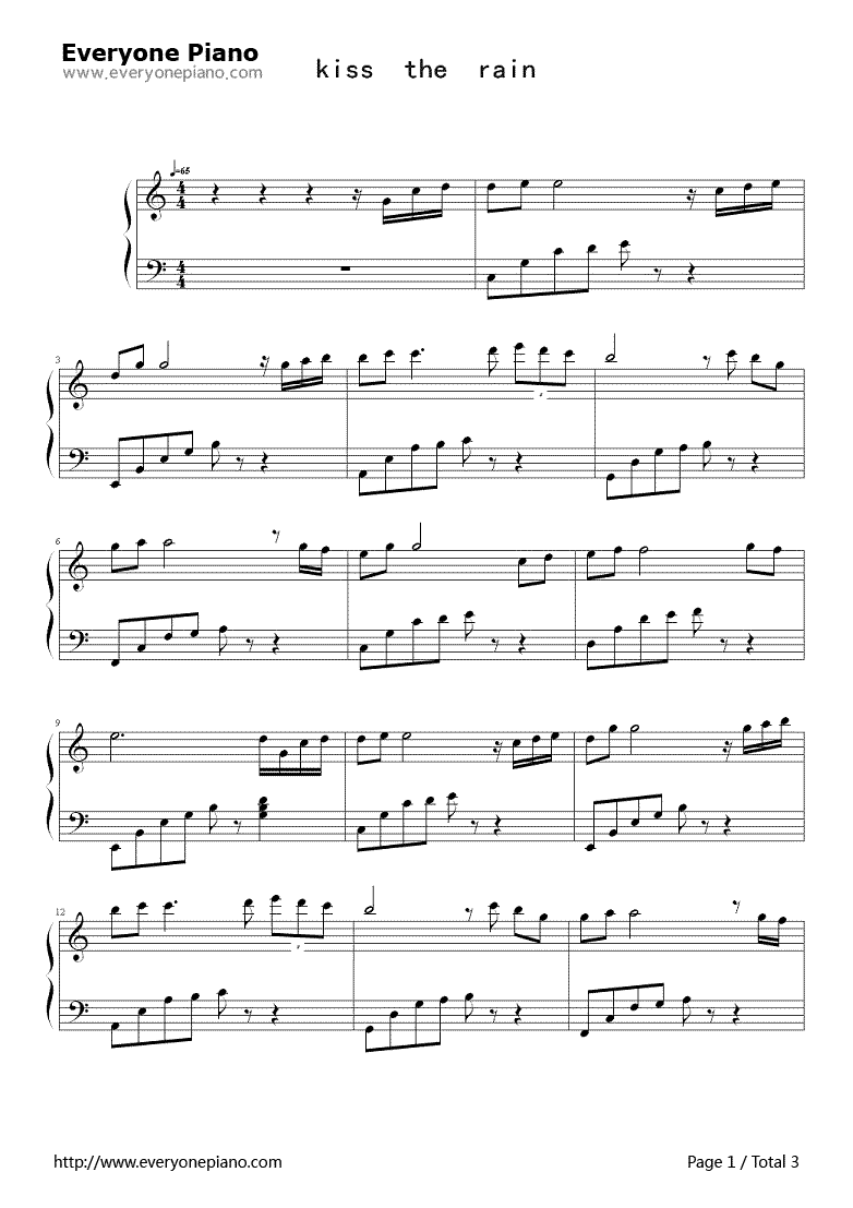 Kiss the Rain-Simple Version-YIRUMA Stave Preview 1 | Play