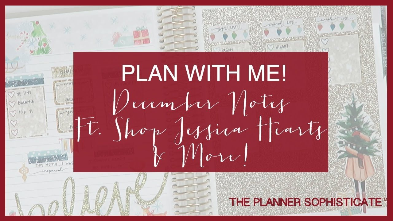 Plan with Me! \\ December Monthly Notes \\ Ft Shop Jessica Hearts & More