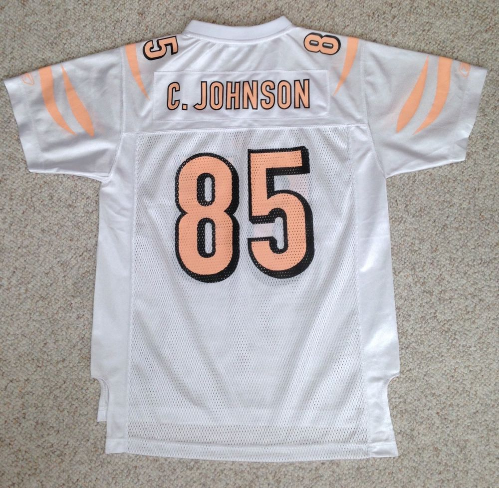 Youth XL (Fits Women Sm) CHAD JOHNSON CINCINNATI BENGALS JERSEY White  Peach-Pink  Reebok  CincinnatiBengals b2cec9d3a