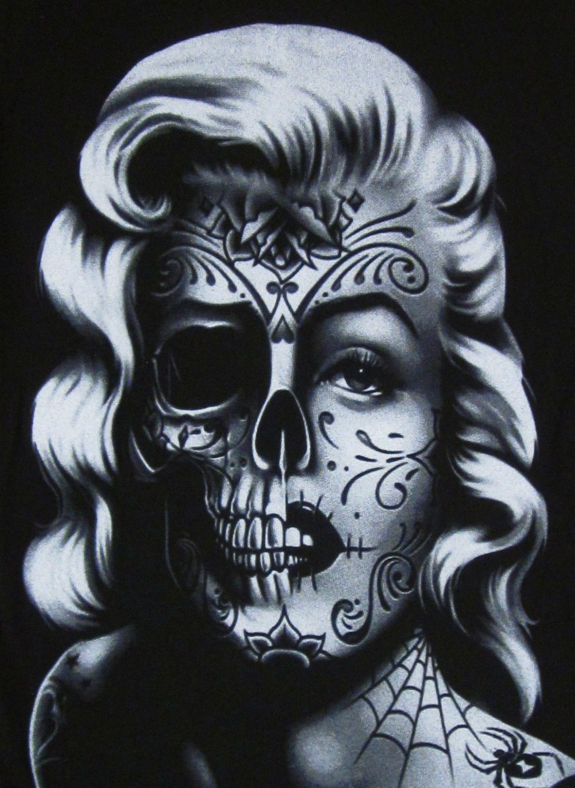 Women marilyn monroe skull zombie face body skeleton for Marilyn monroe skull tattoos