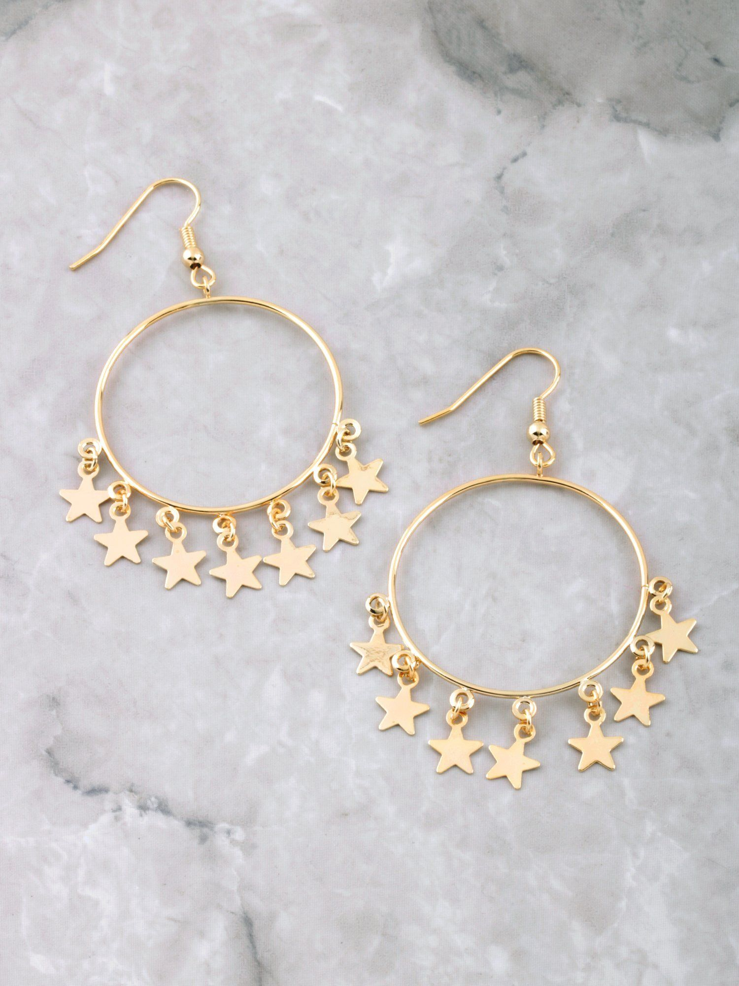 dc0389bb7 Hanging Stars Hoop Earrings | Jewelry | Hoop earrings, Jewelry ...