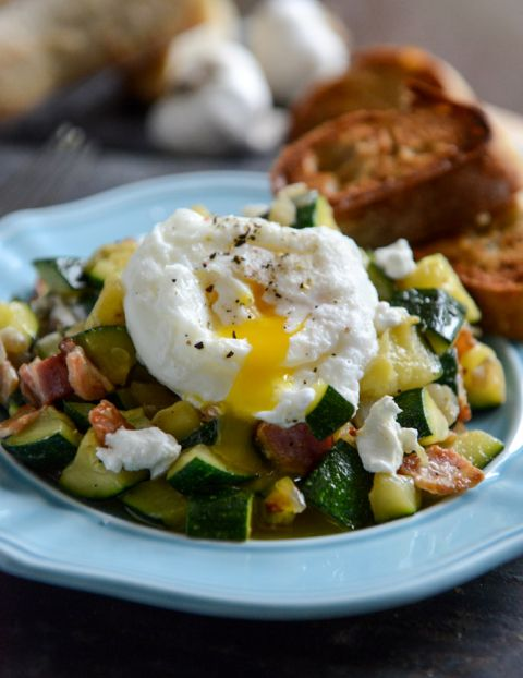 Zucchini Summer Skillet with Poached Eggs + Garlic Brown Butter Baguettes – How Sweet It Is