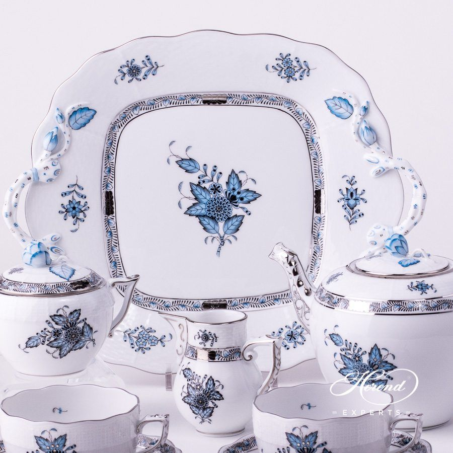 Cake plate chinese bouquet apponyi turquoise plates