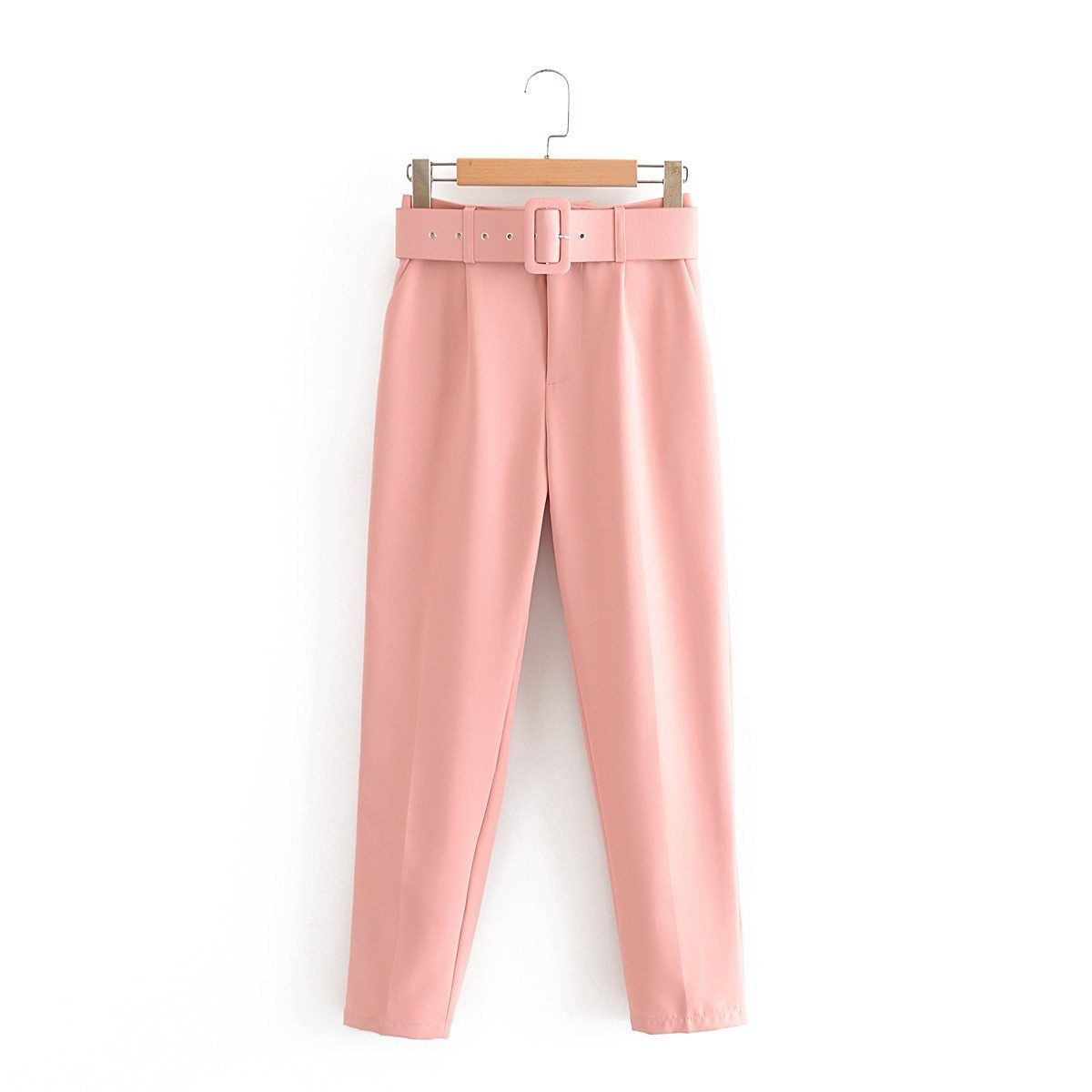 Photo of Aonibeier Elegant Career Pant Office Lady High Waist Straight Pants Belt Casual Ankle Length Women Trousers Suit Sashes Pockets – Pink / XS