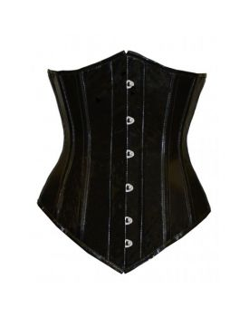 e865fcd1b CANDY-LONG- Black PVC Authentic Steel Boned Long Underbust Corset ...