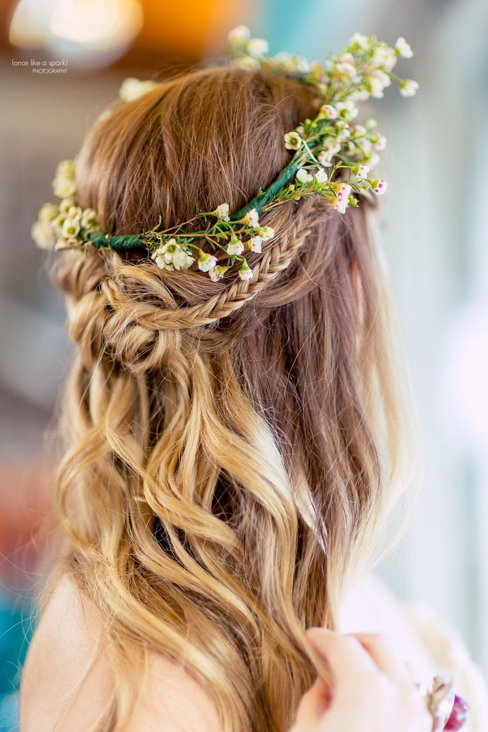 Bohemianinspired wedding hair simple flower crown for your wedding