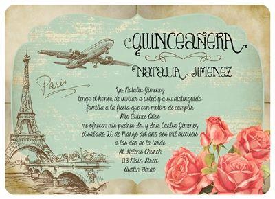 Romantic Vintage Paris Quince Invitation Invitaciones