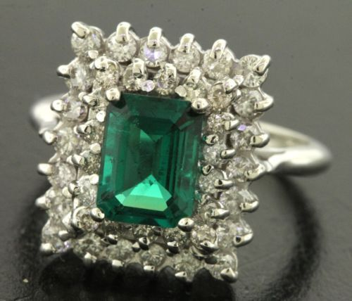 Heavy-14K-white-gold-2-52CTW-diamond-Chatham-emerald-cocktail-ring-size-6-25