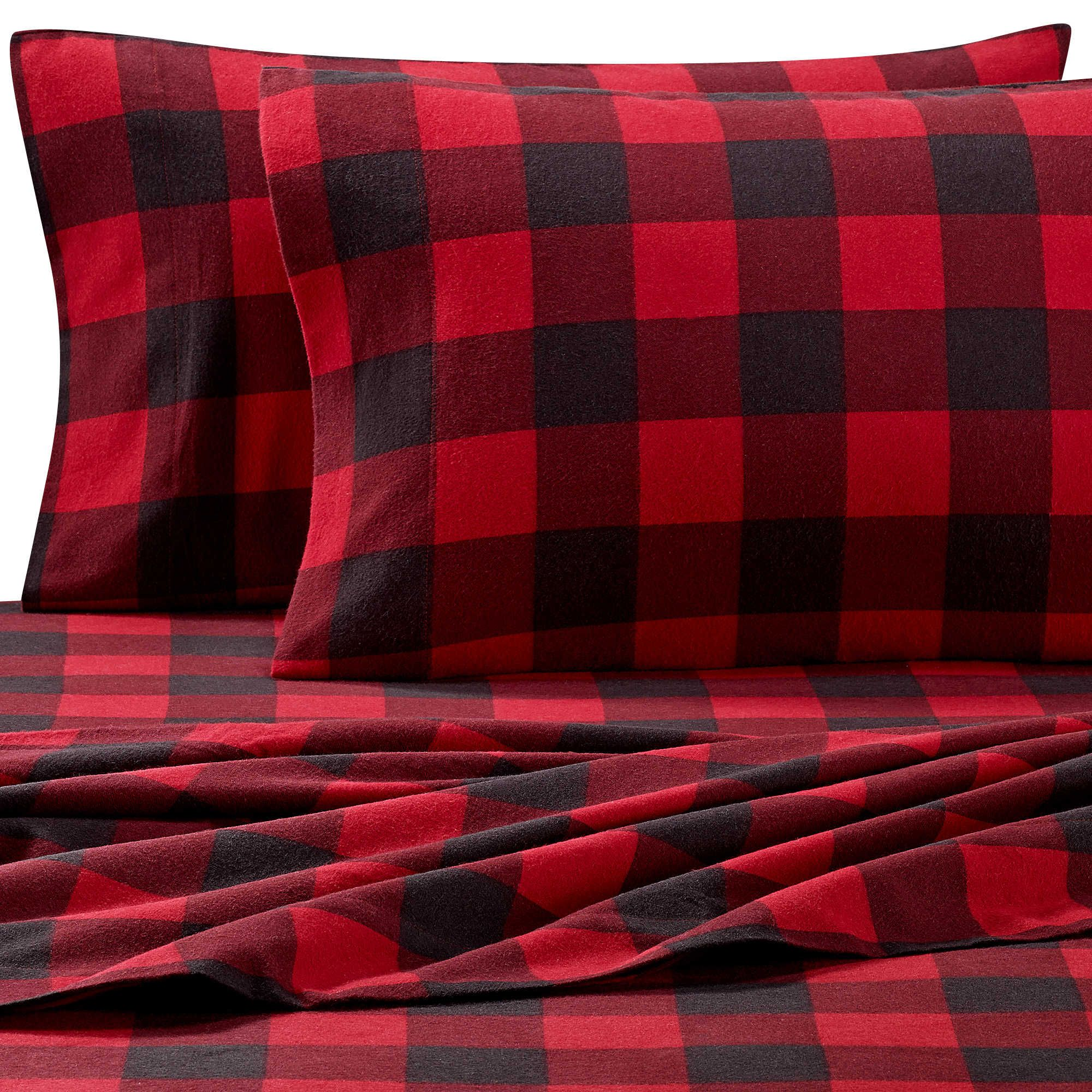 Red flannel sheets  The Seasons Collection Heavyweight Flannel Buffalo Plaid Twin Sheet