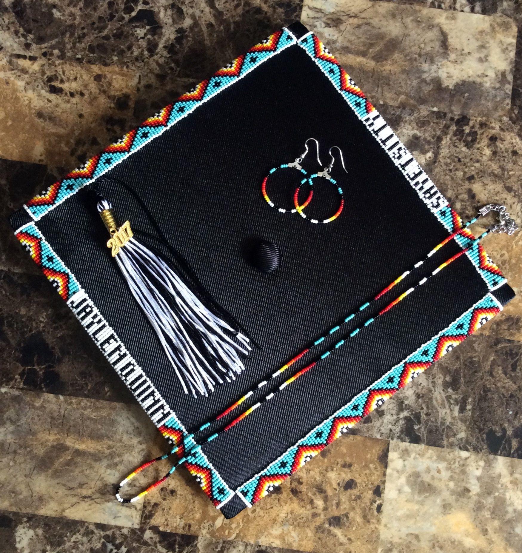 Graduation Cap Beaded Native American