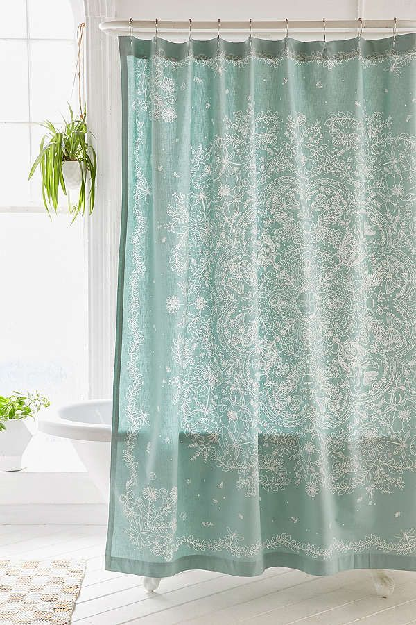 Cece Lace Teal Shower Curtain Lace Shower Curtains Shabby Chic