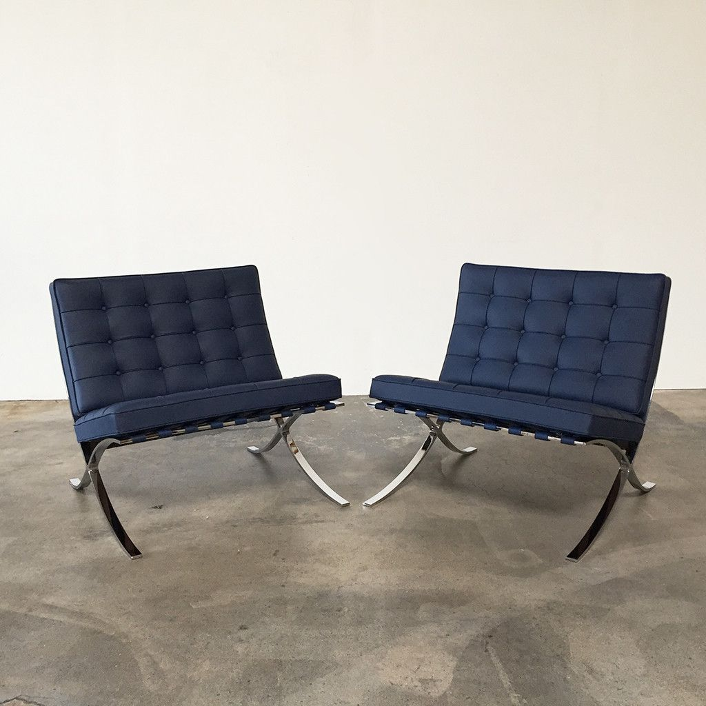 Navy Leather Knoll Barcelona Chairs