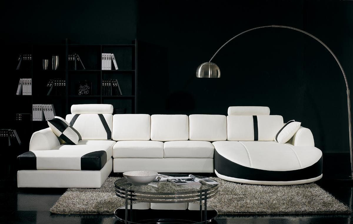 Ultra Modern White And Black Leather Sectional Sofa Modern Sofa