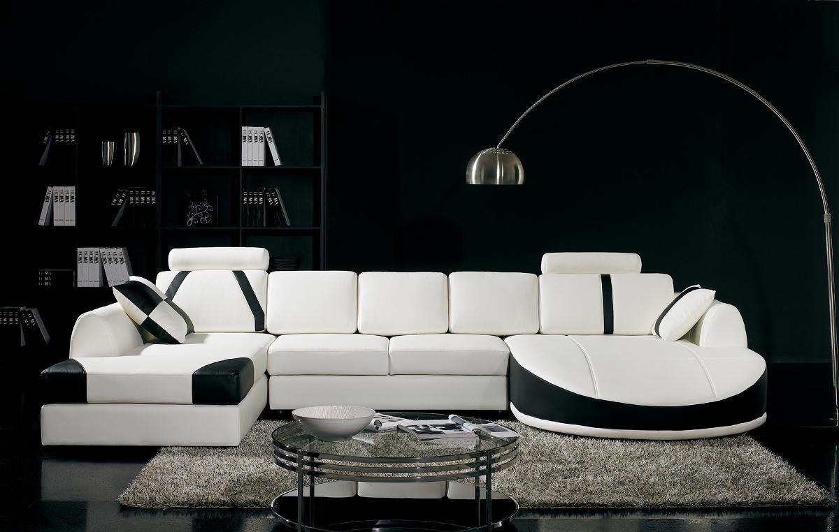 Ultra Modern White And Black Leather Sectional Sofa Modern Sofa