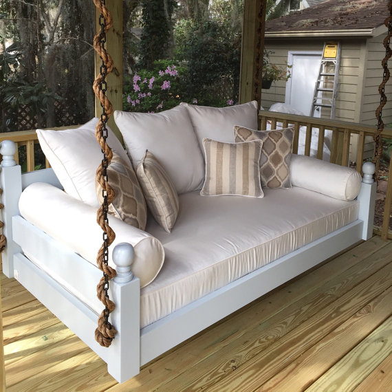 Our Swing Beds Come Standard In A Crib Twin Full Queen Or King Size Outdoor Mattress Can Be Purchased Separ Porch Swing Bed Outdoor Bed Swing Daybed Swing