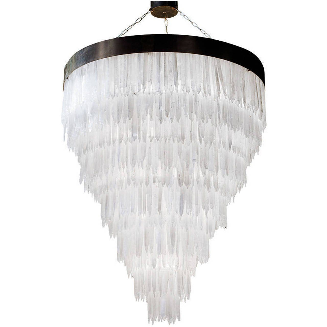 Luster crystal in selenite pendant lighting chandeliers and crystals