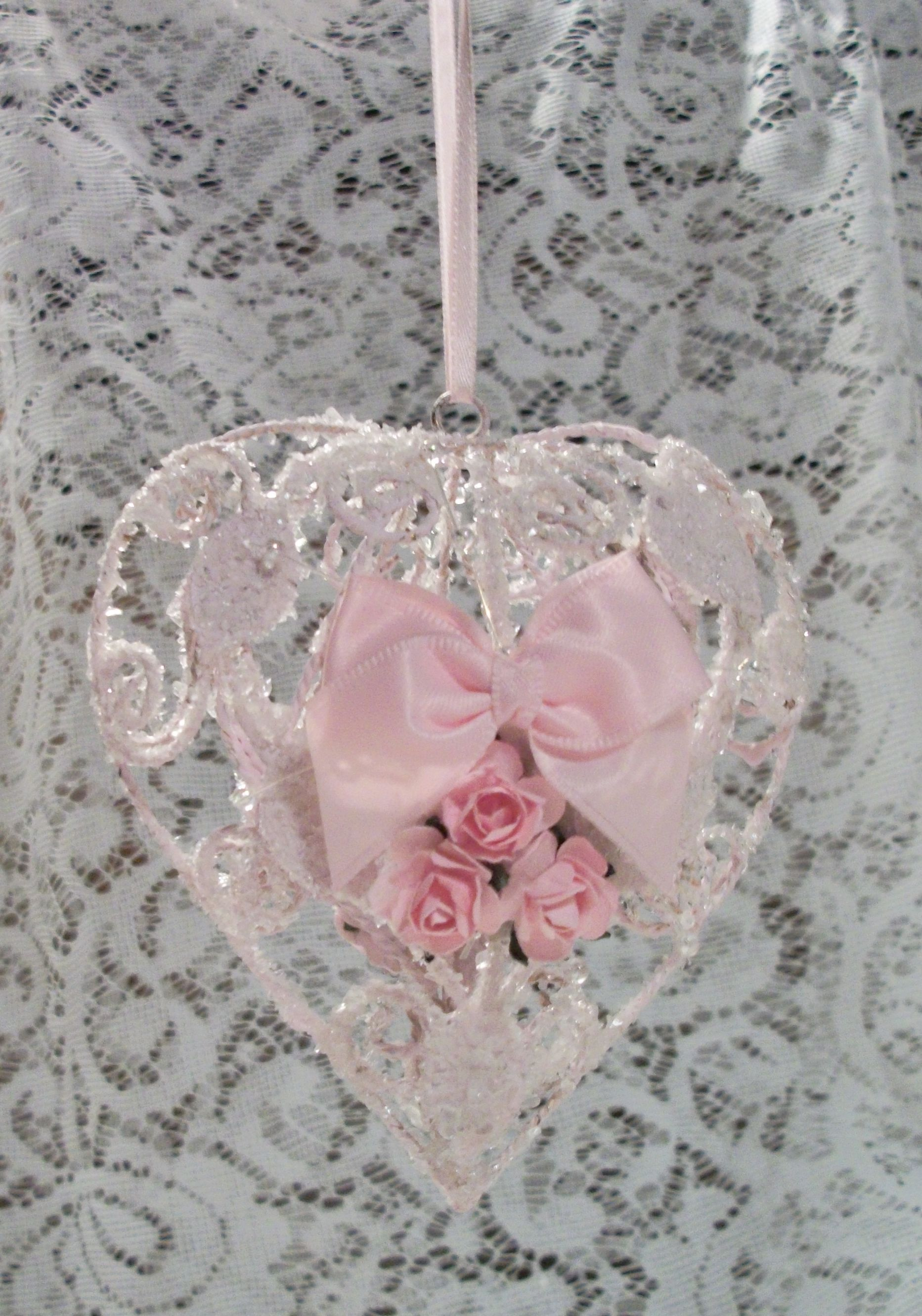 Metal heart ornaments - Shabby Chic Style Wire Metal Heart Christmas Ornament With Glass Glitter And Pink Roses