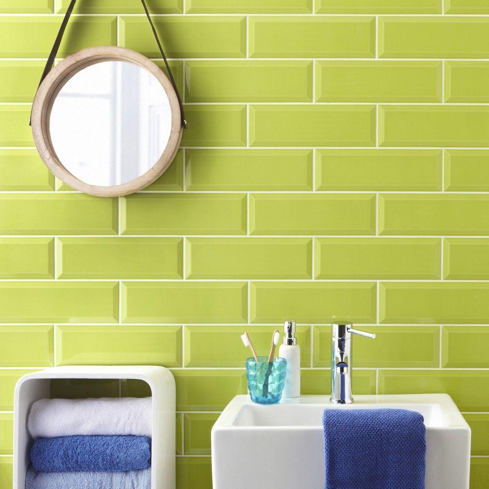 Metro Lime Green Wall Tile   Pinterest   Wall tiles, Lime green ...