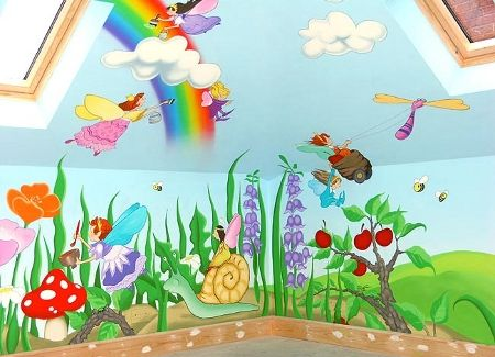 Cartoon Characters Or Animals Mural Painting For The Kids Room Fairy Mural Kids Room Murals Childrens Murals