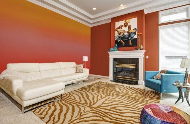 Wohnzimmer Wandgestaltung mit FarbeOmbre Wand streichen