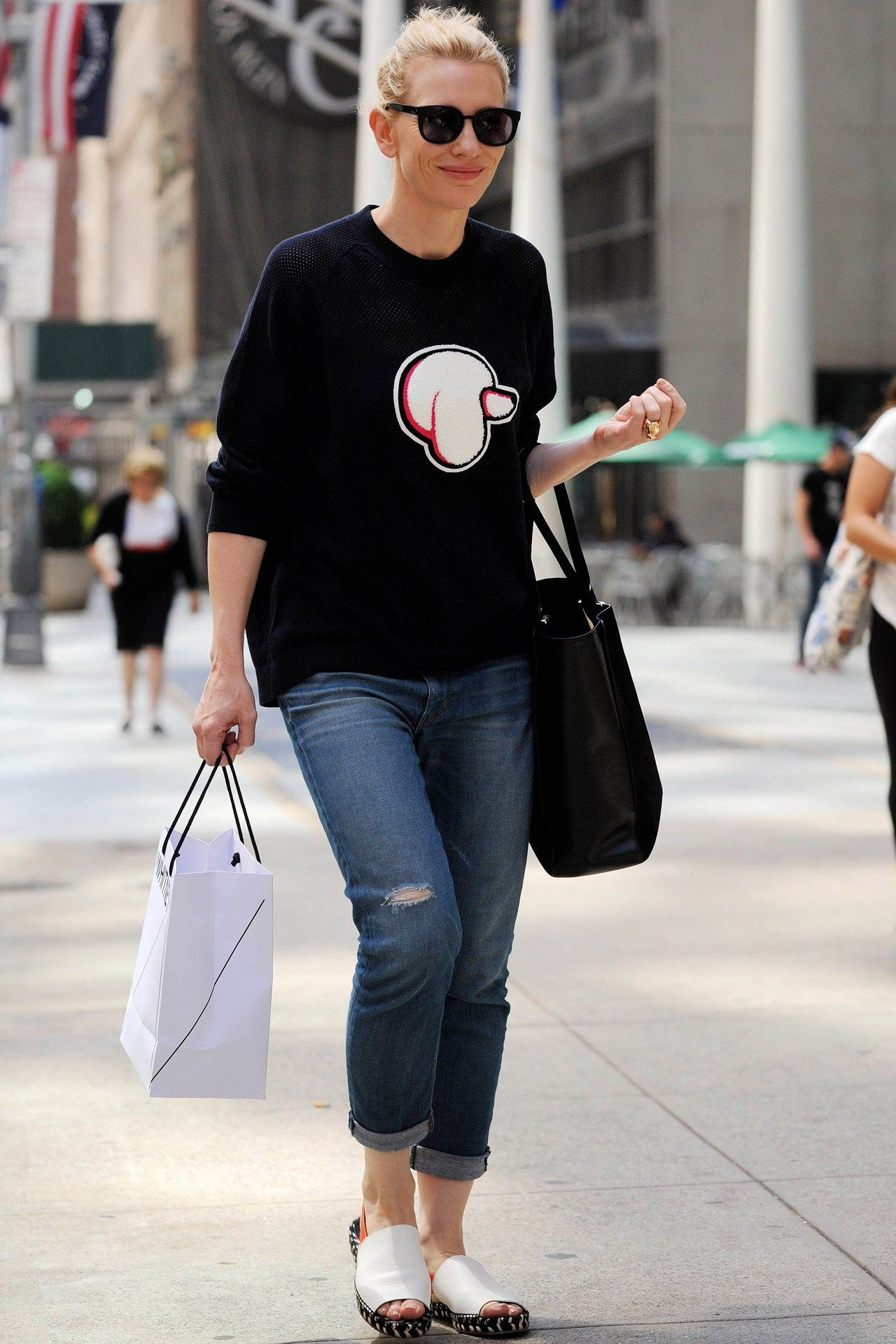 50acaa625f New York – August 9 2014 Cate Blanchett accessorised her 3.1 Phillip Lim  jumper with a Roger Vivier bag.
