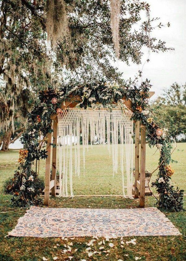 Boho-inspired ceremony piece featuring macrame + orange flowers #wedding #weddings #weddingideas #weddingarches #hmp #boho wedding 20 Boho Wedding Arches, Altars And Backdrops #ceremonyflowers