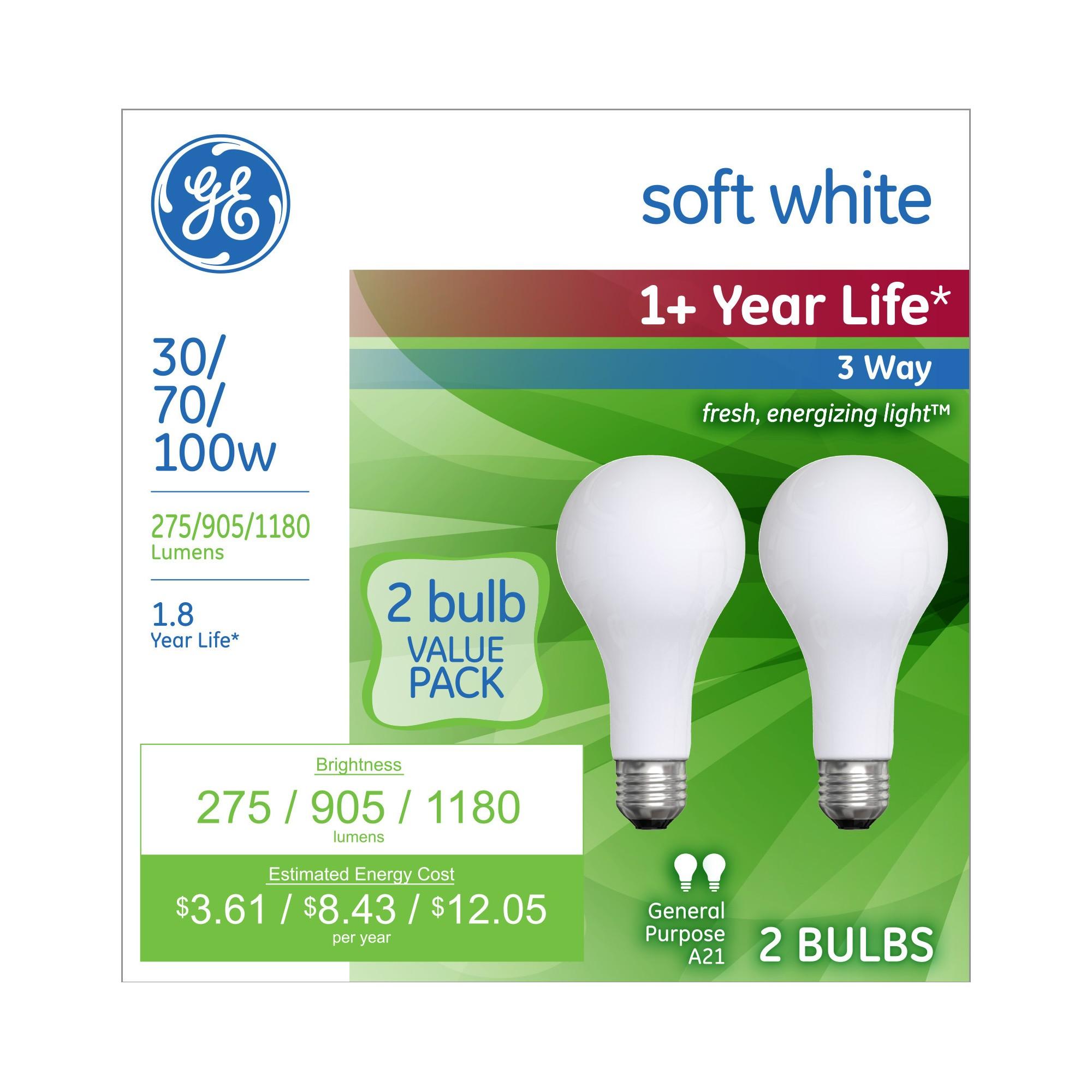 Ge 30 70 100 Watt 3 Way Long Life Incandescent Light Bulb 2