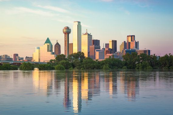 The Dallas Skyline With Reflections At Dusk Illuminated By A Blend Of Ambient And Artificial Light S Cityscape Photography Landscape Photos Dallas Skyline