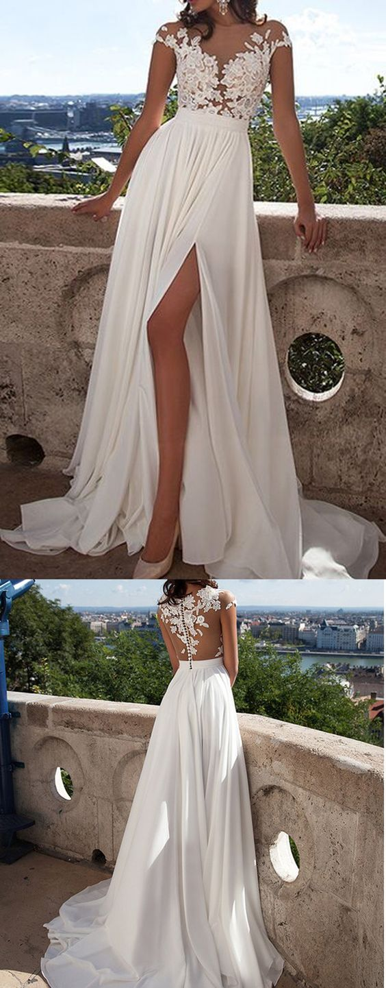 Best beach wedding dresses for guests   Long Top lace Appliques Side Slit Chiffon Cheap Party Evening