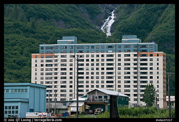 Picture Photo Begich Towers And Horsetail Falls Whittier Alaska Usa Horsetail Falls Whittier Alaska