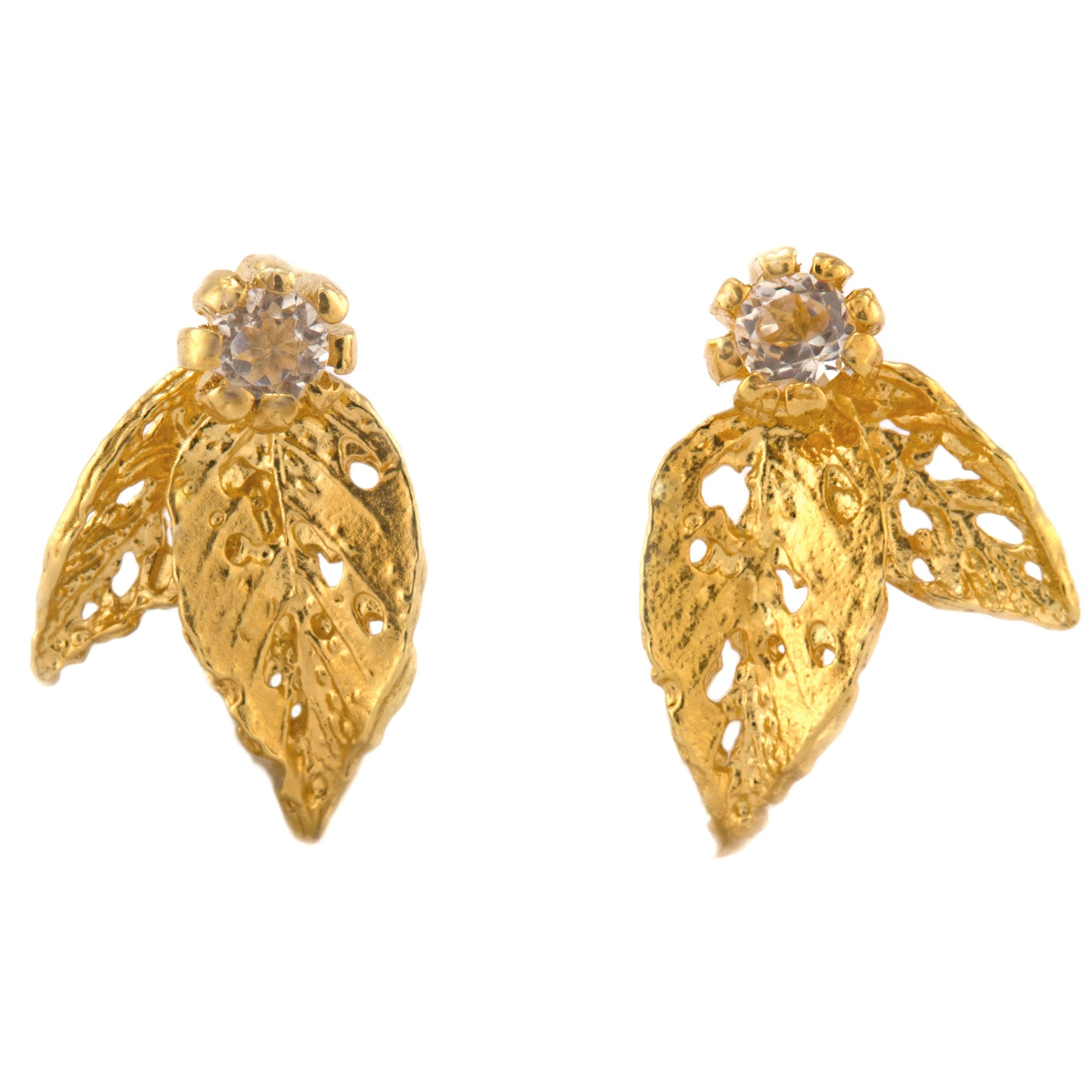 Double Leaf Topaz Stud Earrings - Gold plate | Lusting after ...