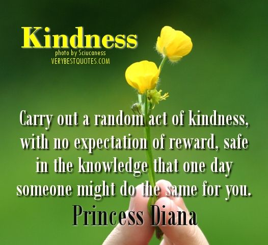 Carry out a random act of kindness, with no expectation of reward, safe in the knowledge that one day someone might do the same for you. ...Princess Diana