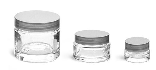 fc4c5389a7ed Glass Jars, Clear Glass Thick Wall Cosmetic Jars w/ Silver F-217 ...