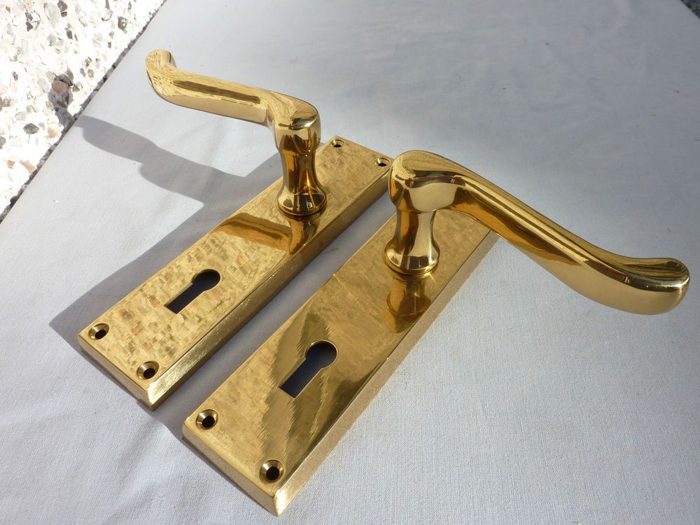 Antique Victorian Style Reclaimed Pair Solid Brass Key Hole Door