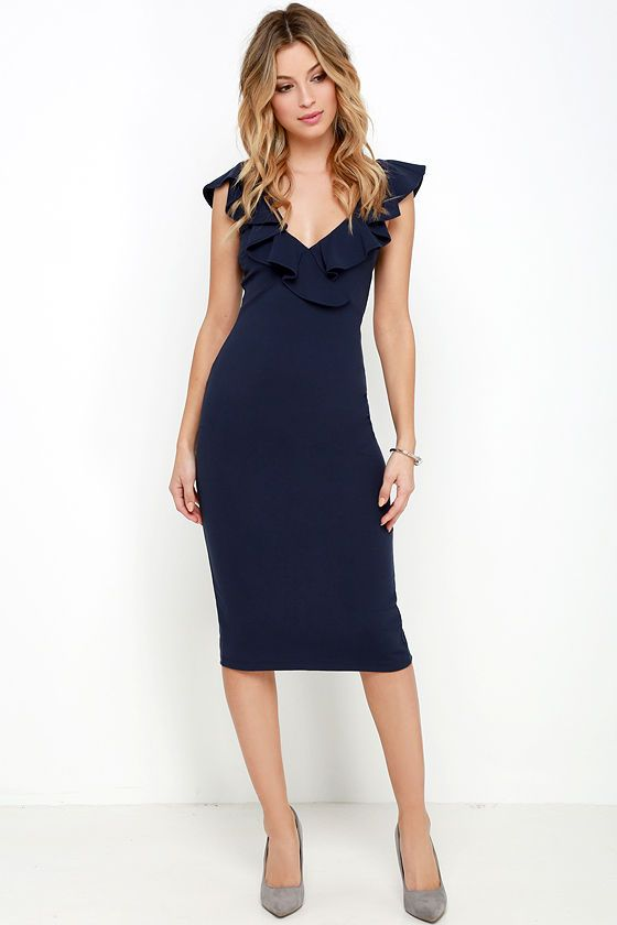 Shop navy ruffled hem dress at Neiman Marcus, where you will find free shipping on the latest in fashion from top designers.