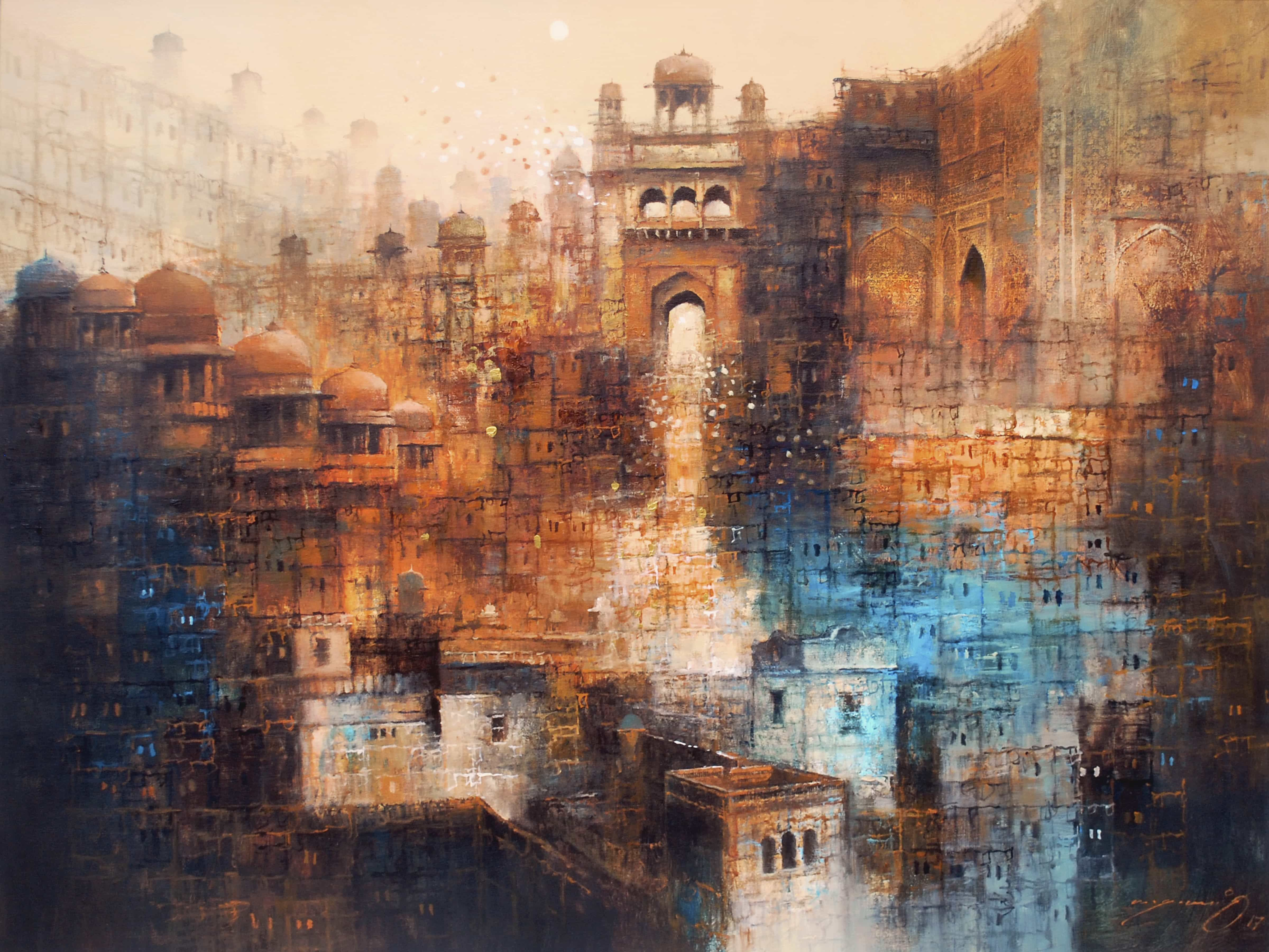 Aq Arif Landscape Painting Mughal Building Medium Oil On Canvas Size 36 X 48 Dome Paintings Fantasy Historical A Abstract Art Painting Art Gallery Art
