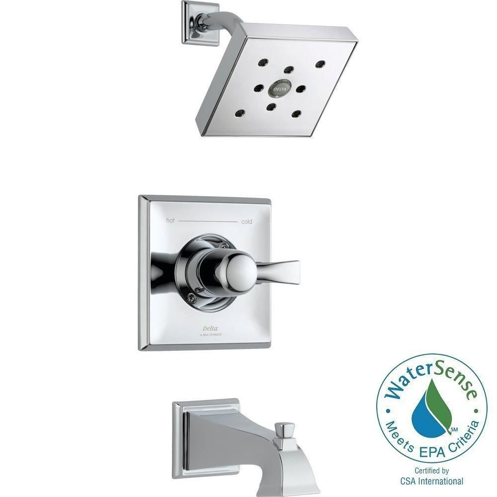 Delta Dryden 1-Handle H2Okinetic 1-Spray Tub and Shower Faucet Trim Kit in Chrome (Grey) (Valve Not Included)