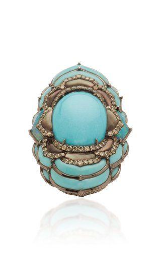 Hafsa 18K Rose Gold And Diamond Ring by Gilan | Moda Operandi