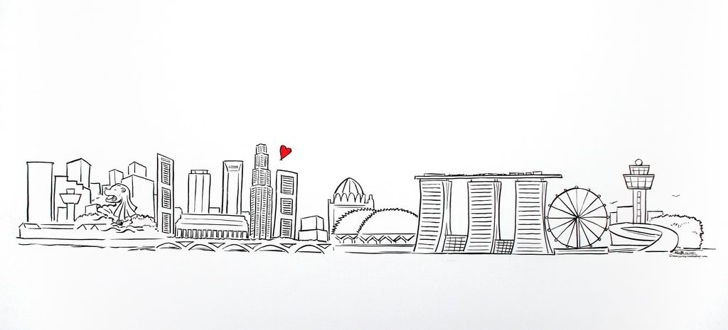 Singapore Skyline Simple Linework Illustration Singapore Art Skyline Drawing City Drawing