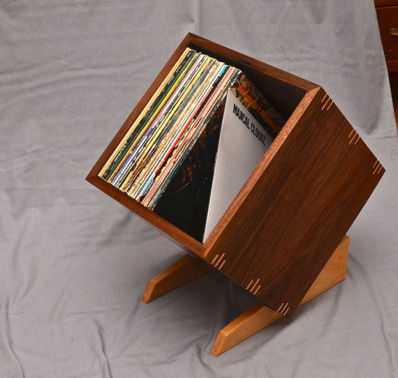 solid walnut record album storage display box with birdseye maple stand and accents beach. Black Bedroom Furniture Sets. Home Design Ideas