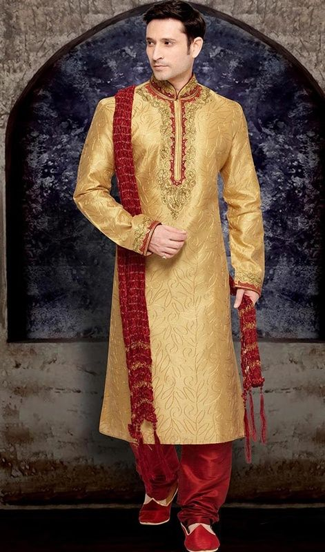 Leave onlookers awe struck by wearing this Indian mens kurta in cream color embroidered brocade. The moti, patch, resham and stones work looks chic and great for any occasion. Brocade might vary from actual image. #weddingwears #menweddingclothes #trendystraightkurtapajama