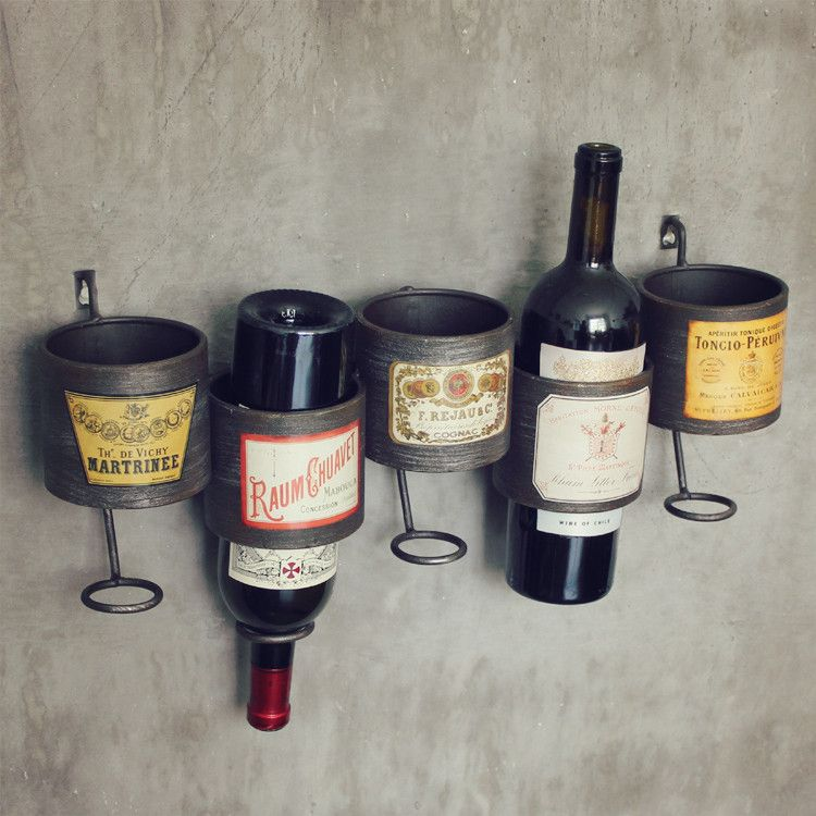 Decorative Wall Wine Rack metal creative wine rack storage industrial wind wall mural
