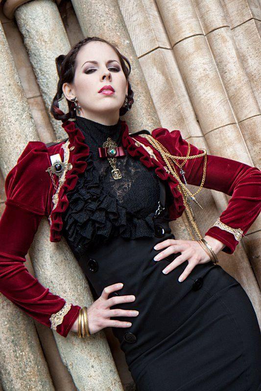 Red steampunk velvet bolero jacket by blackmirrordesign on Etsy